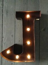 LED LIGHT CARNIVAL CIRCUS  RUST  METAL LETTER  J - WALL OR FREE STANDING 13INCH