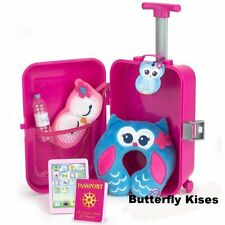 7 PC Travel Suitcase Set Doll Clothes Accessory For 18 in American Girl Dolls