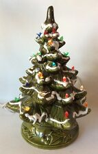 Vintage Ceramic Frosted Christmas Tree Light Up Tabletop w/ Birds Excellent! 16""