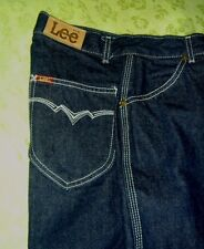 Lee Jeans 29x28 HIGH WAISTED Vintage RODEO DISCO Dark Blue White triple Stitch