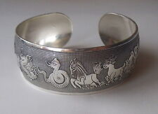 Pretty Chinese Zodiac Silver Tone Wide Cuff Bangle Bracelet Resizable: UK: Boho