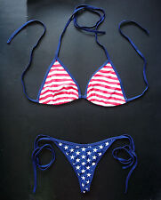 USA G-STRING BIKINI Sexy Stars and Stripes Thong Swimming Costume Holiday Wear
