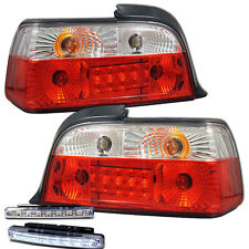 1992-1998 BMW 3-SERIES E36 REAR BRAKE TAIL LIGHT RED/CLEAR+LED BUMPER RUNNING