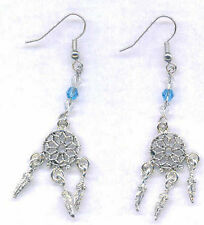Dream Catcher Earrings-Tibetan Silver with Blue and Clear Swarovski Beads