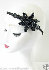 Navy Blue Beaded Headband 1920s Great Gatsby Flapper Headpiece Vintage Deco R32