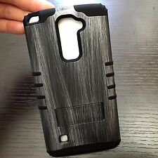 LG G Stylo 2 Plus MS550 HARD & SOFT RUBBER HYBRID CASE COVER GRAY PLASTIC WOOD