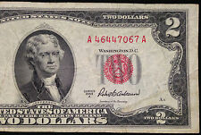 1953-A $2 Two Dollar Bill, Red Seal US Currency, United States Note, 1953A