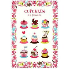 TORCHONS & BOUCHONS, CUPCAKES A LA FRANCAISE FRENCH PRINTED KITCHEN TOWEL, NEW