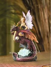 Medieval Fantasy Dragon Rider Color Changing LED Glow Light Fairy Tale Statue