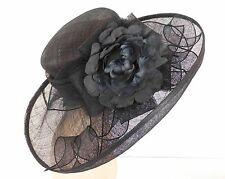 New Church Kentucky Derby Wedding Sinamay Wide Brim Dress Hat 1690 Black / Grey