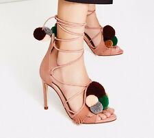 NWT ZARA   LEATHER HIGH HEEL SANDALS WITH POMPOMS  SIZE 6