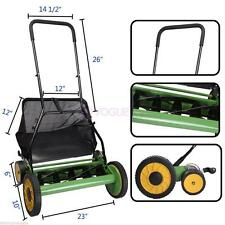 "Lawn Mower 20"" Adjustable Classic Hand Push Reel with Grass Catcher High Quality"