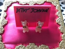 Betsey Johnson Vintage Candyland Candy Pink Lucite Gummy Bear Stud Earrings RARE