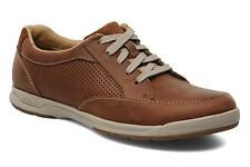 NEW Clarks Men's Stafford Park 5 Low Rise Trainers Shoes Size 10.5 Tan Leather