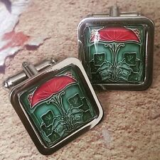 Unique! IVY & FLOWER CUFFLINKS chrome ART NOUVEAU deco GIFT vintage GREEN groom