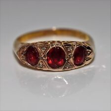 Edwardian Garnet Diamond 9ct Yellow Gold Ring size M ~ 6 1/4