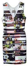 NWT $282 Clover Canyon Neoprene Floral Striped Bodycon Dress M