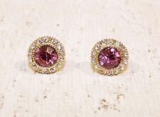 Ohrstecker NEU Ohrringe Stecker Rund Strass rosa gold klein Elegant pink Hochzei