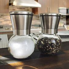 Durable Stainless Steel Brushed Salt Mill Pepper Grinder Bottle Glass Bottle RO
