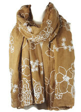 NEW Ladies Embroidered Floral Scarf Maxi Wrap Shawl Pashmina Soft Warm - Gold