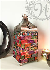 New Large Bejeweled Lantern Holder Candle Style Garden Antique Bronze Moroccan