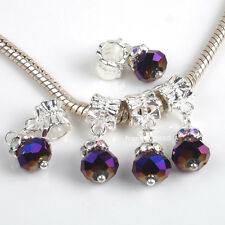 5PCS Dangle Crystal Purple Faceted Glass Charms Spacer Beads Fit Euro Bracelets