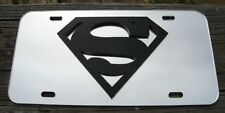 Superman 3D Acrylic License Plate Mirror Chrome & Black