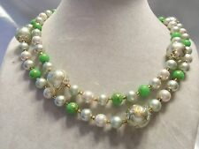 (JAPAN) Vintage Double-Strand Shades Pearl & LIME GREEN Lucite Necklace 15N528