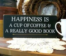 Coffee and a Good Book Wood Sign Primitive Kitchen Wall Plaque