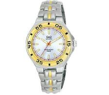 Q&Q F346-401Y Mens Silver Dive Dress Quartz Bracelet Watch New Citizen Movement