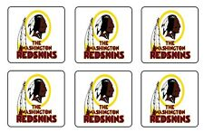 "WASHINGTON REDSKINS COASTERS 1/4"" BAR & BEER SET OF 6"
