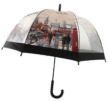 NEW Clear Dome Shape Umbrella LONDON ICON See Through Transparent Rain Brolly