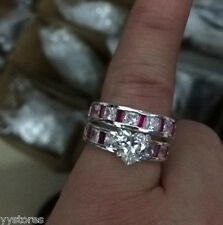 446 White Sapphire Birthstone 925 silver Filled  Engagement Wedding Ring Size 8