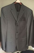 Men's Gray Pinstripe Three Piece Suit Vested  ANGELO ROSSI