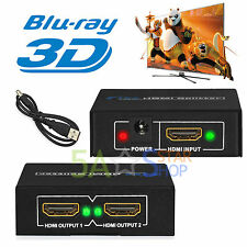 2 Output 1 Input HDMI Splitter Amplifier 2 Way Switch Box Hub For HDTV PS3 1080P