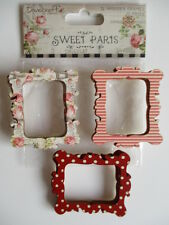 Dovecraft Sweet Paris - 12 Wooden Photo Frames - floral , stripe , dot