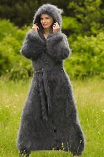 Grey hand knitted sweater coat fuzzy long mohair cardigan SUPERTANYA SALE