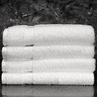 12 WHITE POLLY/COTTON BLEND HOTEL BATH TOWELS 24x50 ROYAL TITAN BRAND