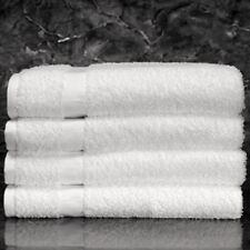 6 WHITE POLLY/COTTON BLEND HOTEL BATH TOWELS 22x44 ROYAL TITAN BRAND