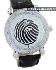 mens diamond silver clubbing watch finger print dial leather warranty maxx