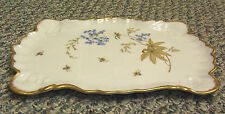 #XSALE OLD CERAMIC GOLD LEAF EMBOSSED & TRIMMED SCALLOPED DRESSER TOP TRAY DISH