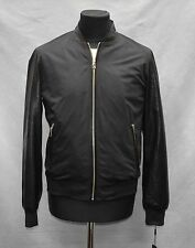 C8 NEW KARL LAGERFELD PARIS Mens Black Leather Sleeve/Trim Bomber Jacket Size M