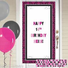 1.65m Stylish Black & Pink Happy Birthday Party Personalisable Door Banner Kit