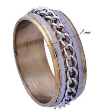 Handsome Men's Yellow/white Gold Plated Band Iron chain Ring Size 8