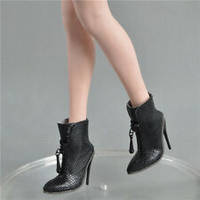 """1/6th Black Fish scales Female Short Boot High-heeled Shoe F 12"""" Phicen UD Body"""