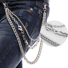 Hip Hop Trousers Pants Belt Key Chain Punk Skull Jean Gothic Rock Silver 3 Row