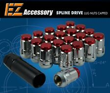 20 Pc Set Capped Spline Drive Lug Nuts ¦ Red ¦ 12x1.5 ¦ Chevy Corvette Camaro