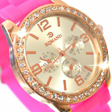 Watch Quartz Wrist Women Crystal Analog Neon Pink & Gold With Rubber Purple Band