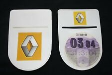 RENAULT CLIO TAX DISC HOLDER - Self-Adhesive with Double Sided Logo!