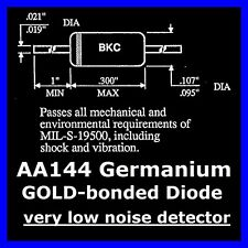 20x DIODO GERMANIO ORO Bonded aa144 very low noise Crystal RADIO RIVELATORE